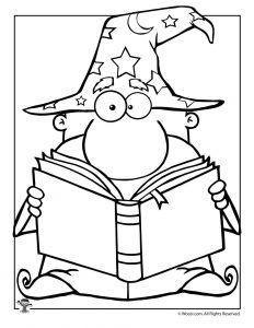 Wizard Fantasy Book Coloring Page