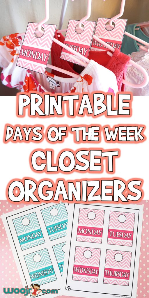 picture regarding Days of the Week Printable called Printable Times of the 7 days Closet Organizers Woo! Jr. Young children