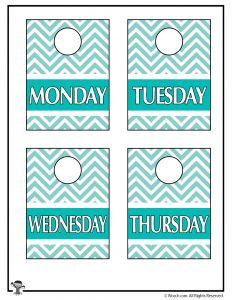 Blue Printable Closet Organizers M-Th