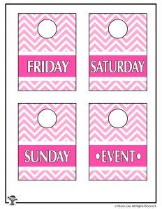 Pink Printable Closet Organizers F-Su + Event