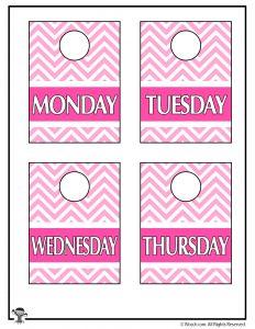 Pink Printable Closet Organizers M-Th