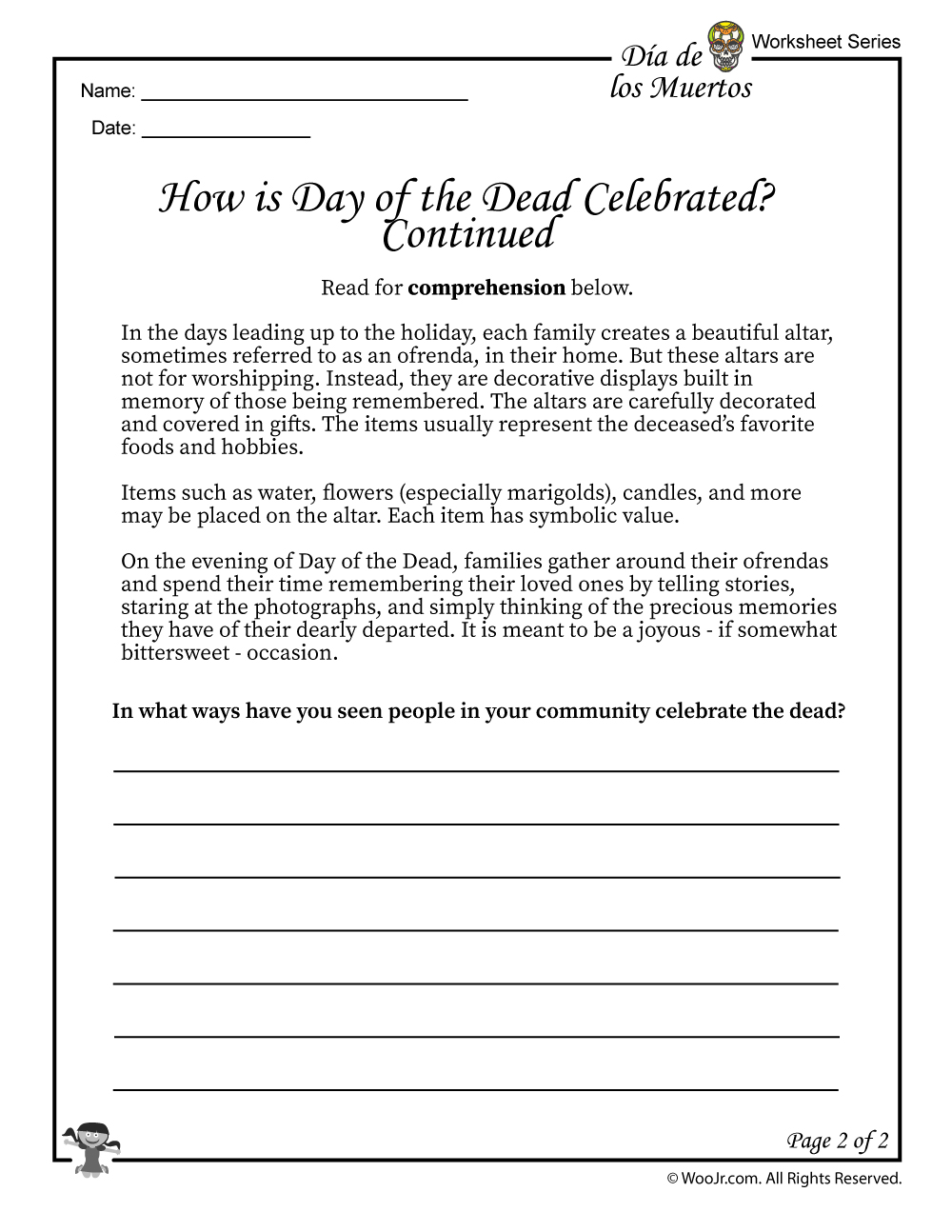Day Of The Dead Facts Worksheet 2 Woo Jr Kids Activities