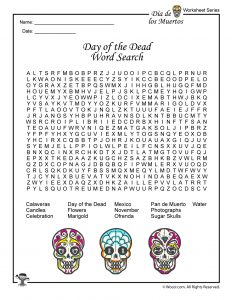 Day of the Dead Word Search Worksheet