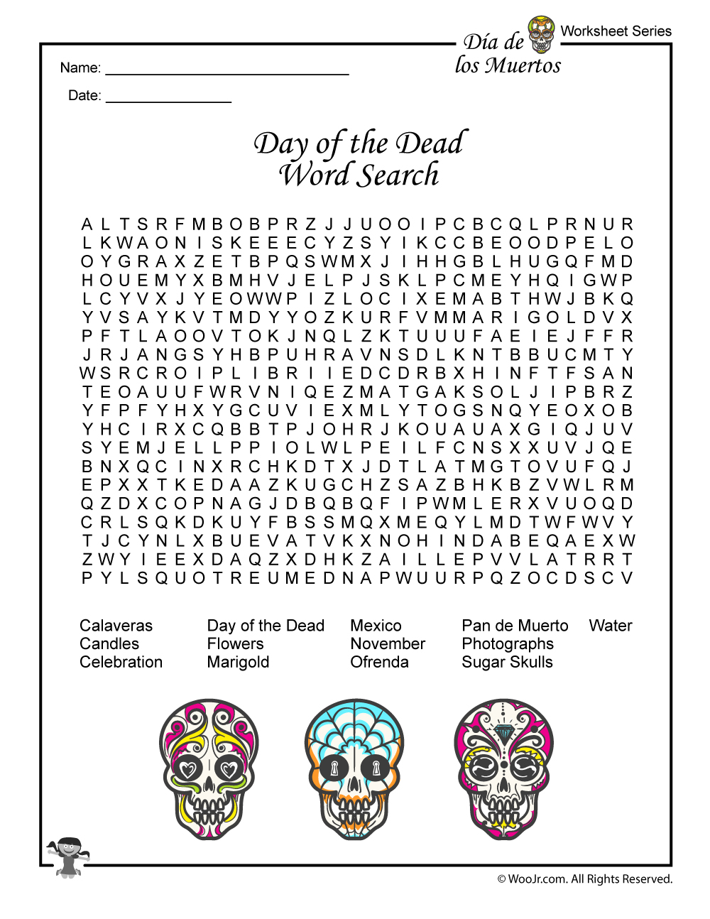 Day Of The Dead Word Search Worksheet Woo Jr Kids