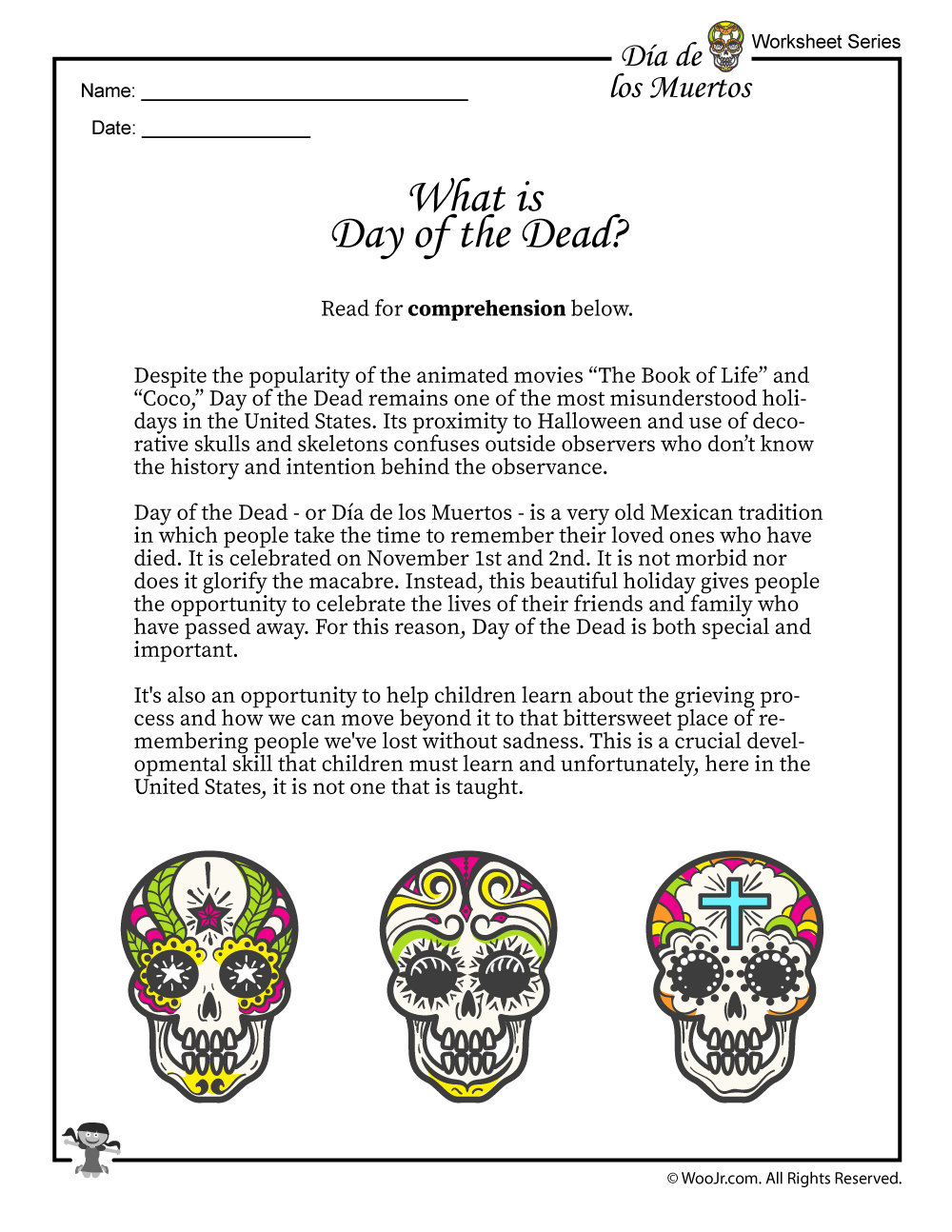 Day Of The Dead Activities Worksheets Lesson Plan Woo