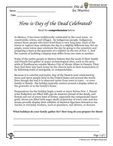Day of the Dead Facts Worksheet 1