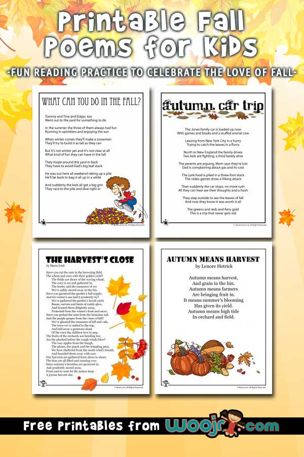 8 Fall Kids Poems to Print