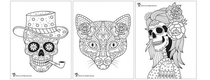 Day of the Dead and Sugar Skulls Coloring Pages