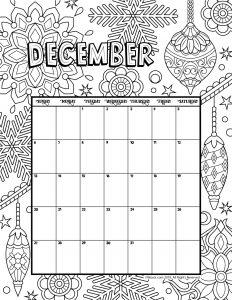 December 2020 Coloring Calendar