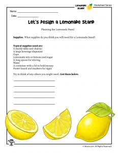 Lemonade Stand Planning Worksheet