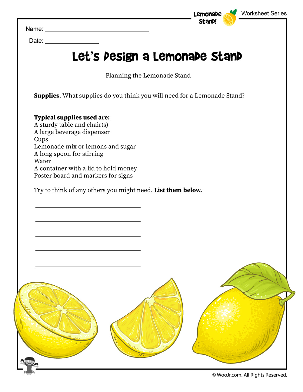 image relating to Lemonade Signs Printable known as Lemonade Stand Creating Worksheet Woo! Jr. Children Things to do
