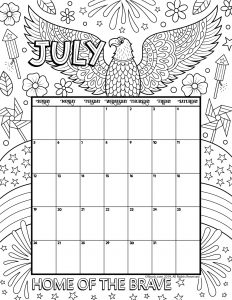 July 2020 Coloring Calendar