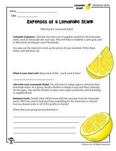Lemonade Stand Expenses Worksheet