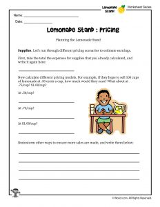 Lemonade Stand Pricing Worksheet