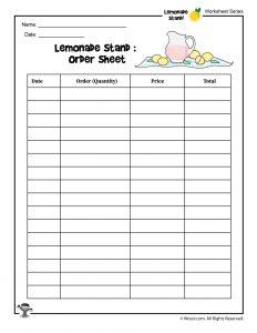 Lemonade Stand Order Tracking Worksheet