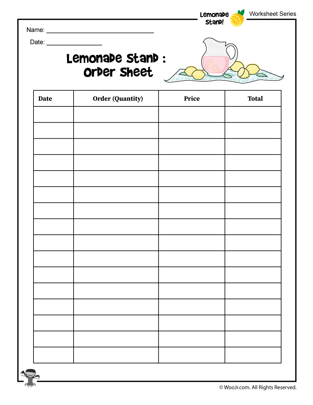 Lemonade Stand Order Tracking Worksheet | Woo! Jr. Kids ...