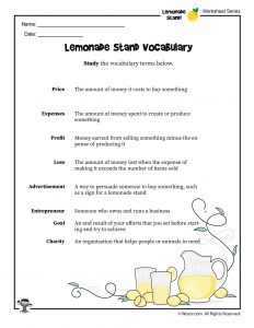 Lemonade Stand Vocabulary Definitions