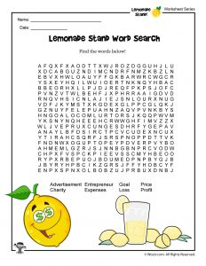 Lemonade Stand Word Search