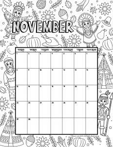 November 2020 Coloring Calendar