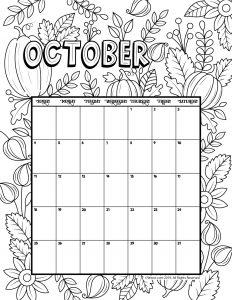 October 2020 Coloring Calendar