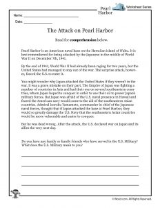 Pearl Harbor Reading Worksheet 1