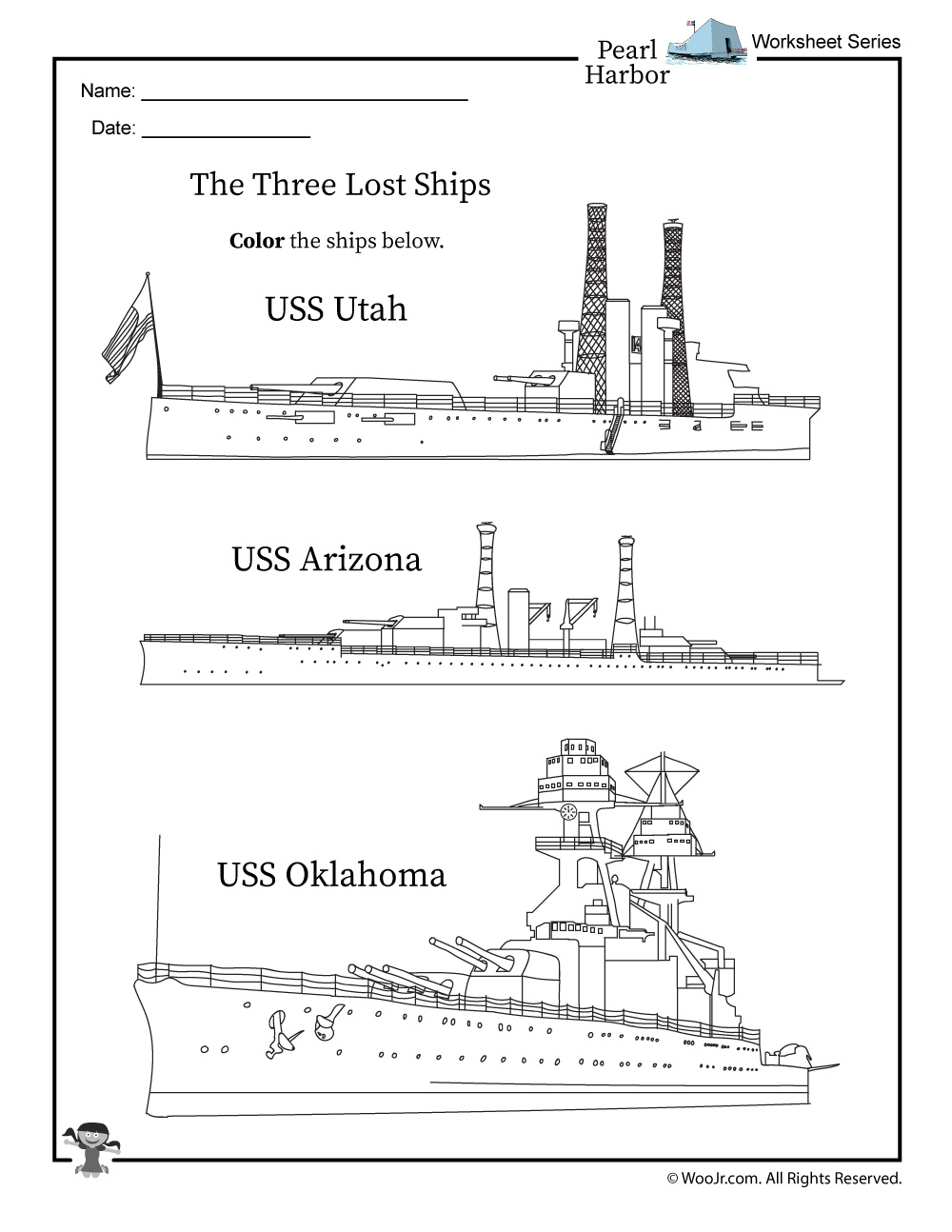 Pearl Harbor Ships Coloring Page Woo Jr Kids Activities