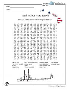 Pearl Harbor Word Search