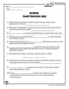 Volunteering for Kids Reading Comprehension Quiz