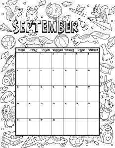 September 2020 Coloring Calendar