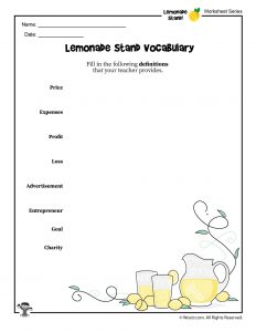 Lemonade Stand Entrepreneurship for Kids Vocabulary Worksheet