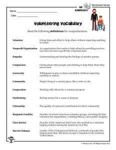 Volunteering Vocabulary Word List With Definitions