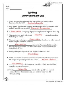 Volunteering for Kids Reading Comprehension Quiz - ANSWER KEY