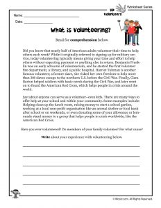 What is Volunteering Reading Worksheet