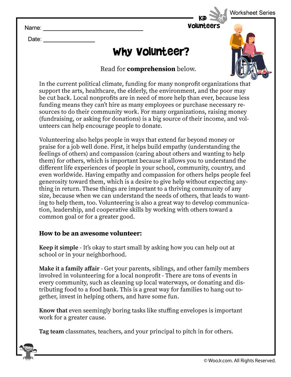 - Why Volunteer Reading Worksheet Woo! Jr. Kids Activities