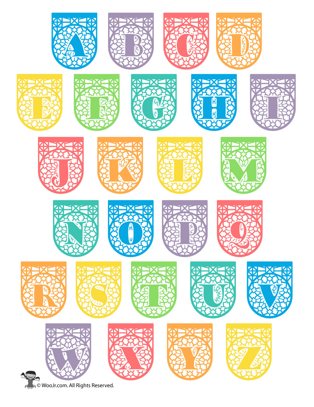 photograph about Papel Picado Templates Printable titled Printable Papel Picado Alphabet Letters Woo! Jr. Youngsters
