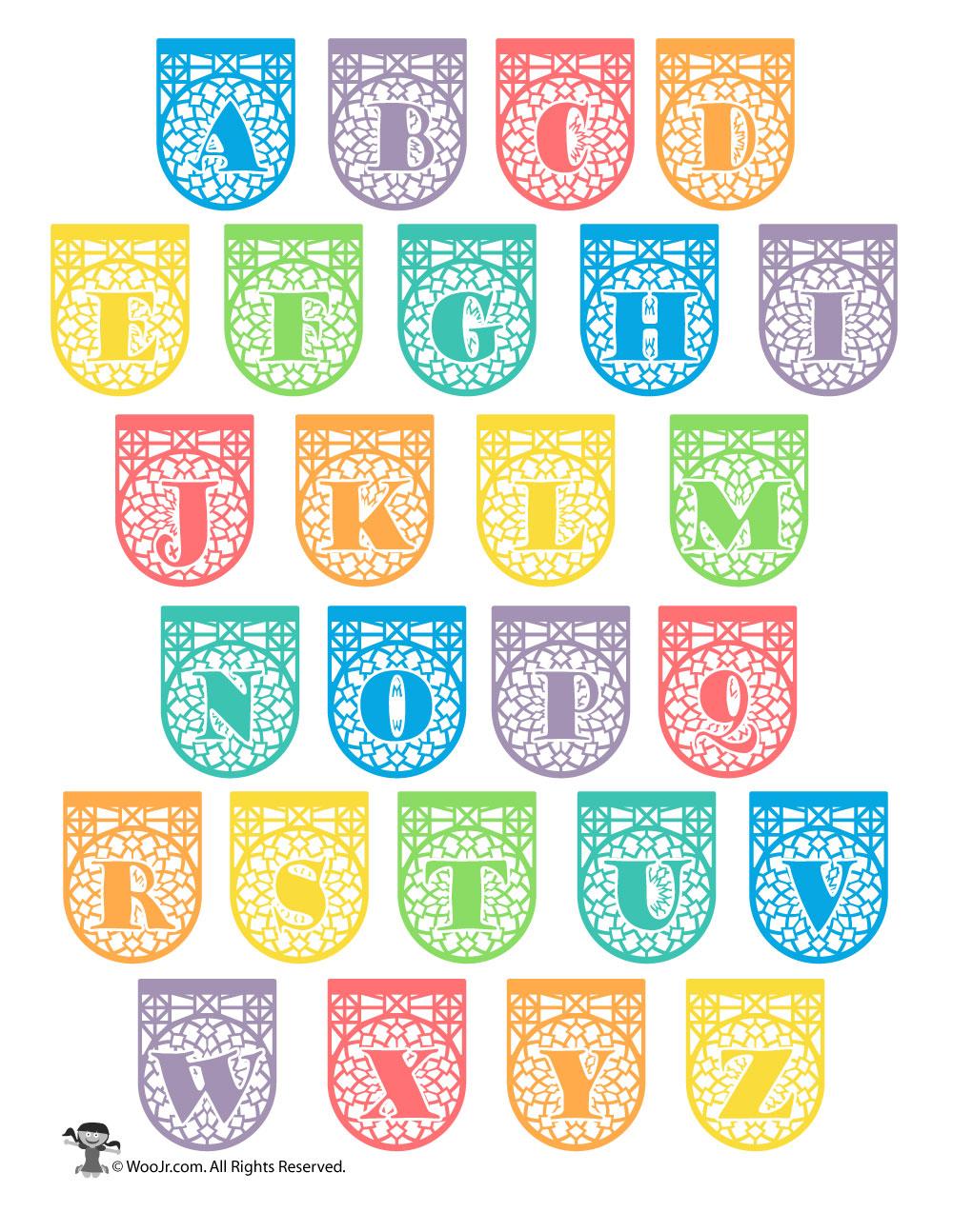 graphic regarding Papel Picado Printable identify Printable Papel Picado Alphabet Letters Woo! Jr. Young children
