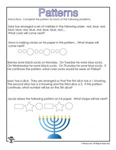 Hanukkah Math Story Problems Worksheet