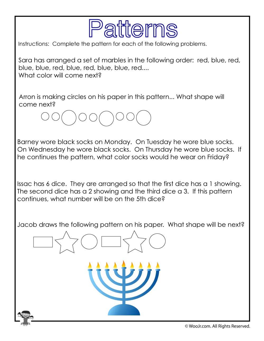 Hanukkah Math Story Problems Worksheet Woo Jr Kids Activities