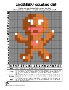 Gingerbread Man Grid Coloring Page - ANSWER KEY