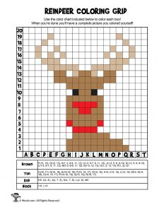 Reindeer Mystery Picture Coloring Grid - ANSWER KEY