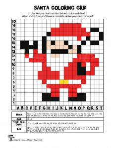 Santa Coloring Grid Page - ANSWER KEY
