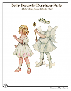 Christmas Angel Betty Bonnet Paper Dolls