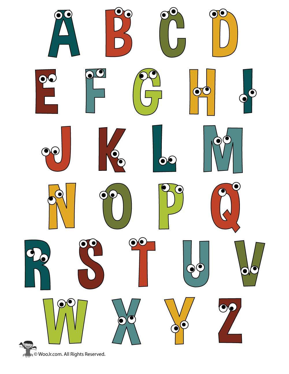 Printable Cartoon Letters Alphabet Set | Woo! Jr. Kids ...