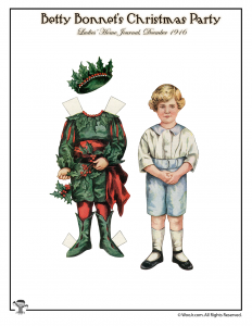 Christmas Paper Dolls Betty Bonnet 1916