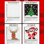 Christmas Mystery Pictures Grid Coloring Pages