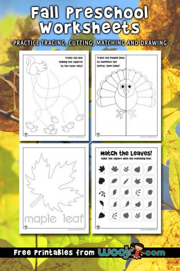 Fall Preschool Worksheets for Tracing, Matching and Cutting Practice