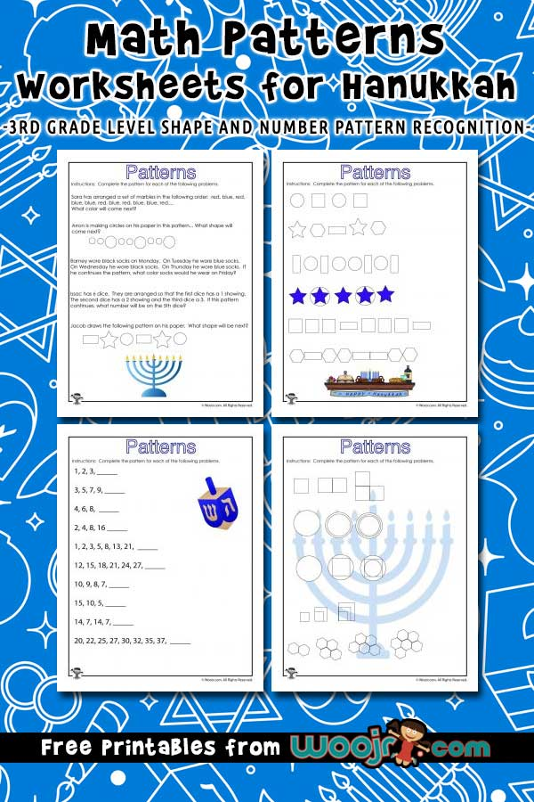 3rd Grade Math Patterns Worksheets for Hanukkah