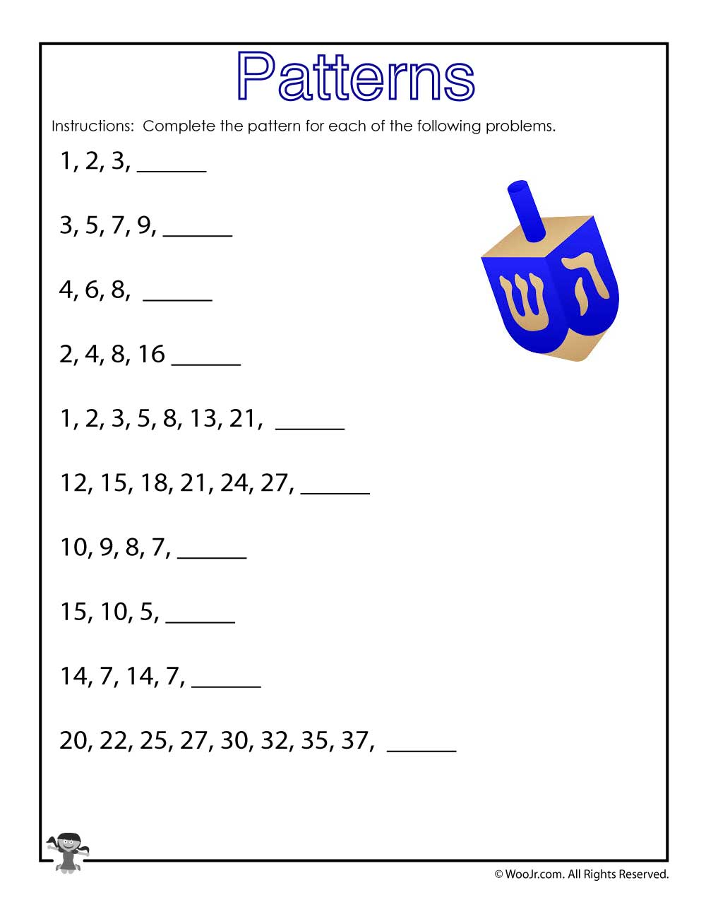 number patterns worksheet hanukkah