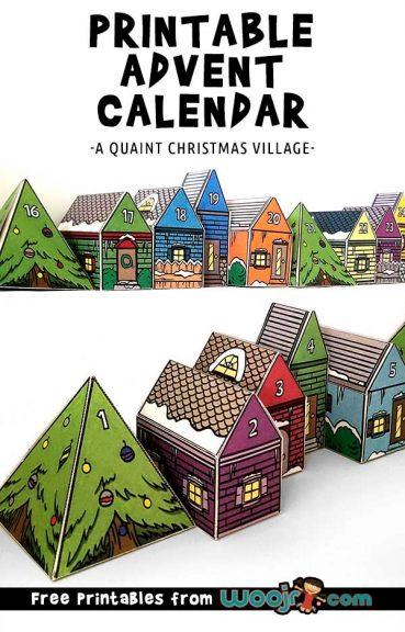 Printable Advent Calendar: 25 Days Christmas Village Papercraft