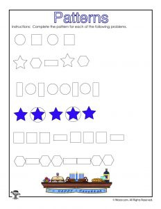 Shape Patterns Worksheet for Kids
